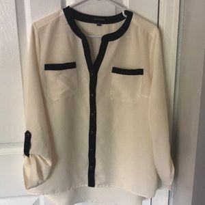 Cream and black blouse